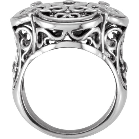 Sterling Silver Filigree Ring Mounting, Size 7