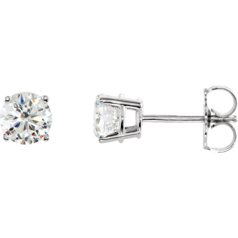 Pair of 1 CTTW Basket-Style Friction Post Stud Earring in 14k White Gold