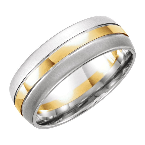 14K White & Yellow Gold 8mm Band Size 11