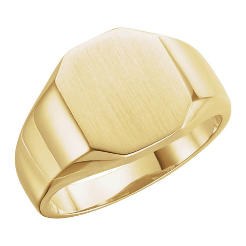 14k Yellow Gold 11x9mm Octagon Signet Ring, Size 6