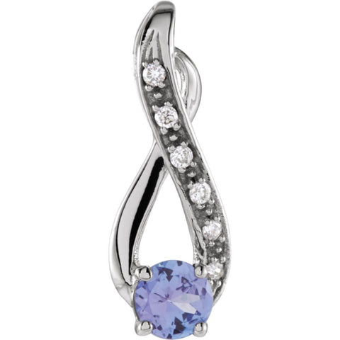 0.04 CTTW Genuine Tanzanite and Diamond Pendant in 14k White Gold