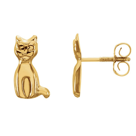 Kids Cat Earrings in 14K Yellow Gold