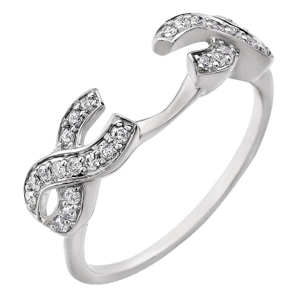 14k White Gold 1/4 CTW Diamond Ring Guard