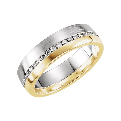 14K White & Yellow Gold 6mm 1/3 CTW Diamond Band Size 11