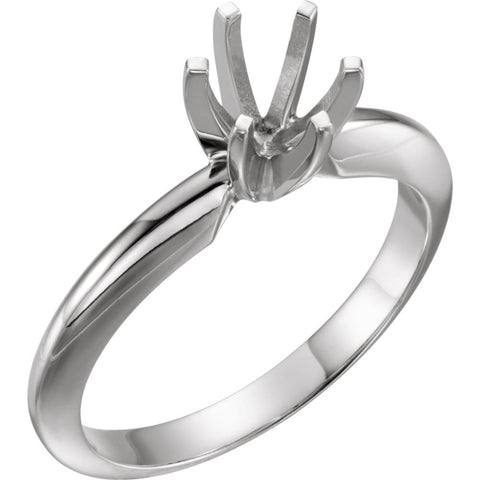 Platinum 6-6.6mm Round Heavy 6-Prong Engagement Ring Mounting, Size 6