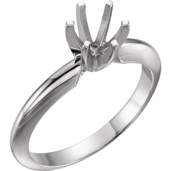 14k White Gold 5-5.3mm Round Heavy 6-Prong Engagement Ring Mounting, Size 6