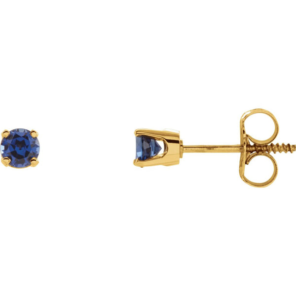 14k Yellow Gold Imitation Blue Sapphire Youth Earrings