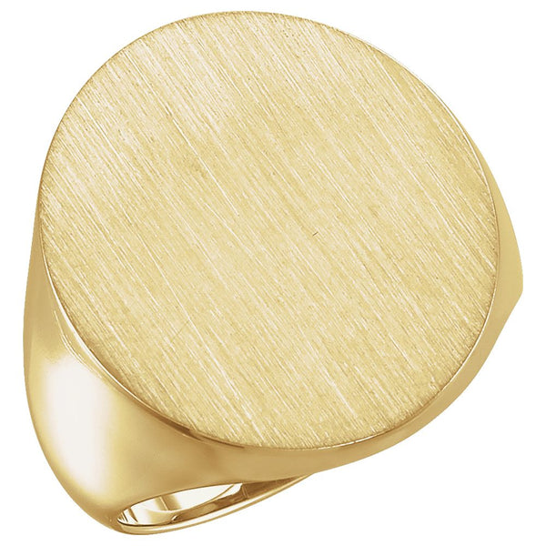 10k Yellow Gold 22x20mm Men's Signet Ring with Brush Finish, Size 10