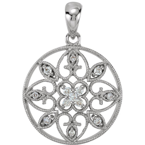 14k White Gold 1/8 CTW Diamond filigree Pendant