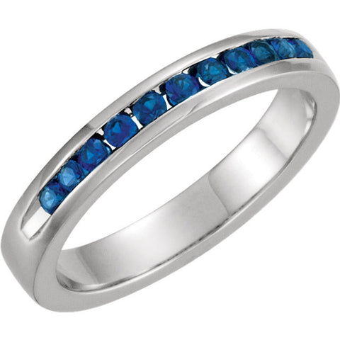 14k White Gold Blue Sapphire Classic Channel Set Anniversary Band , Size 7