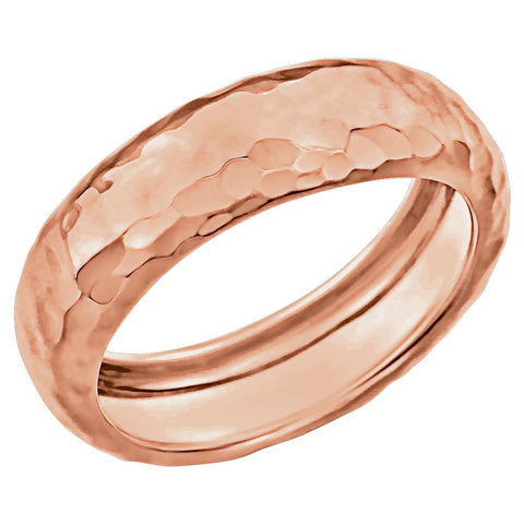 14k Rose Gold Hammered Ring Size 7