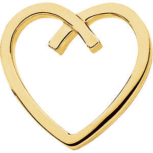 14k Yellow Gold Heart Chain Slide