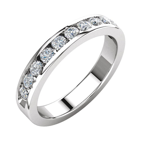 1/2 CTTW Round Diamond Anniversary Band in 14k White Gold (Size 6 )