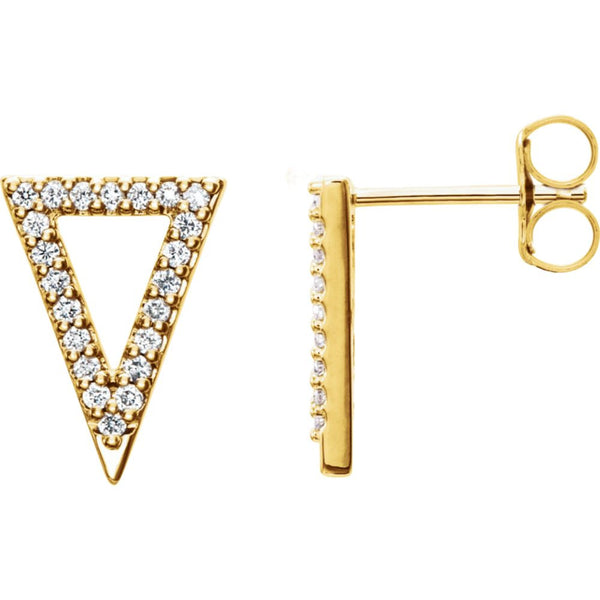 14k Yellow Gold 1/4 CTW Diamond Triangle Earrings