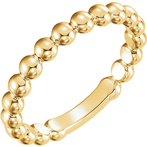 14k Yellow Gold 3mm Stackable Bead Ring, Size 7