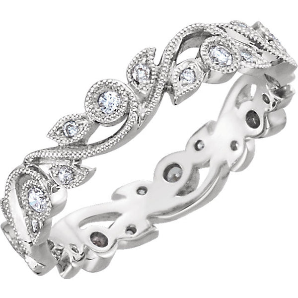 14k White Gold 1/4 CTW Diamond Eternity Band Size 6.5