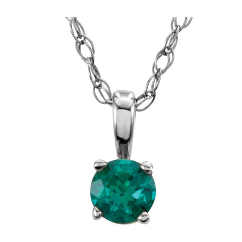 "14k White Gold Imitation Emerald ""May"" Birthstone 14-inch Necklace for Kids"