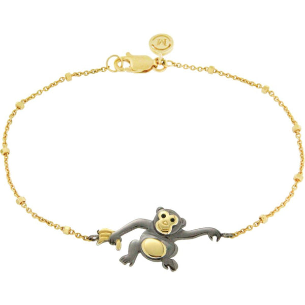 "18k Yellow Gold Vermeil & Black Rhodium-Plated Monkey 7.5"" Bracelet for Mischief"