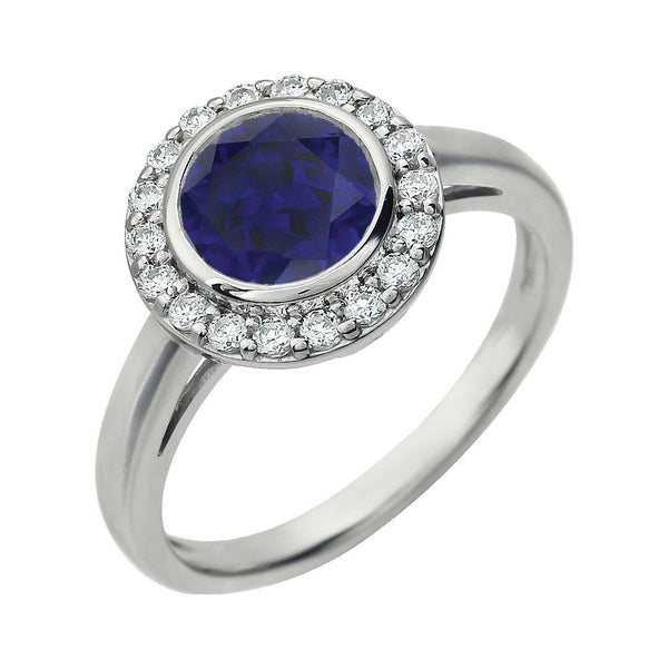 Sterling Silver Dark Blue Cubic Zirconia Ring, Size 7