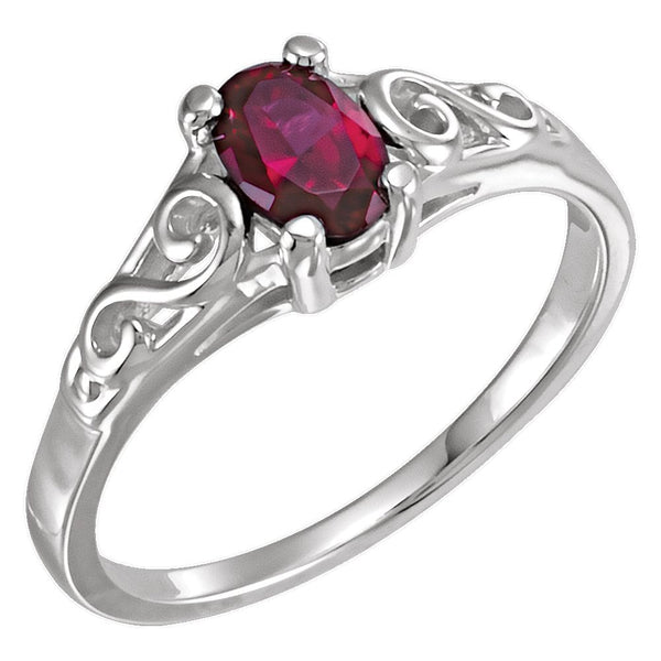 14k White Gold January Imitation Birthstone Ring , Size 5