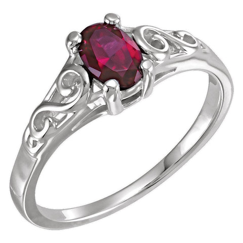 14k White Gold January Imitation Birthstone Ring for Kids, Size 7