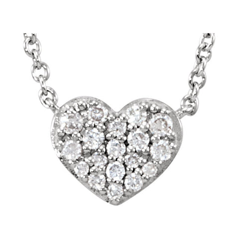 "Sterling Silver 1/10 CTW Diamond Heart 18"" Necklace"