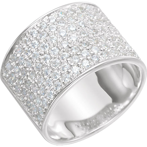 Cubic Zirconia Wedding Band Ring in Sterling Silver ( Size 8 )
