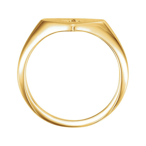 14k Yellow Gold .01 CTW Diamond Heart Signet Ring, Size 7