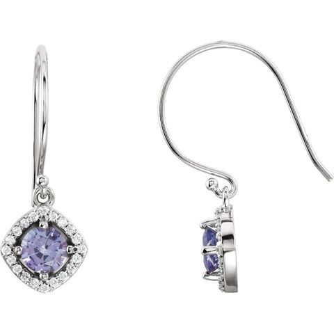 Pair of 1/5 CTTW Halo-Styled Dangle Earrings with Cushion Frame in 14k White Gold