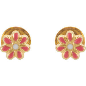 14k Yellow Gold Youth Enameled Floral-Inspired Earrings