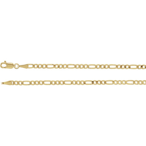 3.0 mm Solid Figaro Chain in 14k Yellow Gold ( 24-Inch )