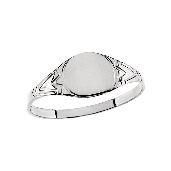 Sterling Silver 6mm Youth Signet Ring, Size 3