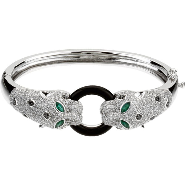 14k White Gold Emerald, Onyx & 2 1/2 CTW Diamond Cuff Bracelet