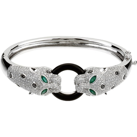 Genuine Onyx, Emerald & Diamond Bracelet in 14K White Gold
