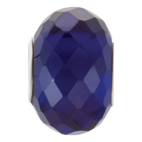 Sterling Silver 11x15.5mm Faceted Sapphire-Colored Glass Bead
