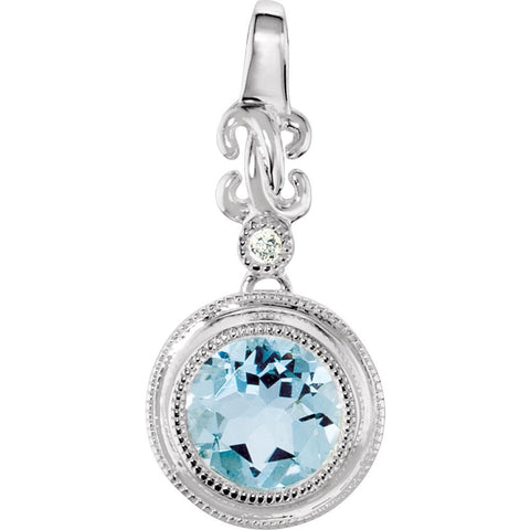 Sterling Silver Aquamarine & .01 CTW Diamond Pendant