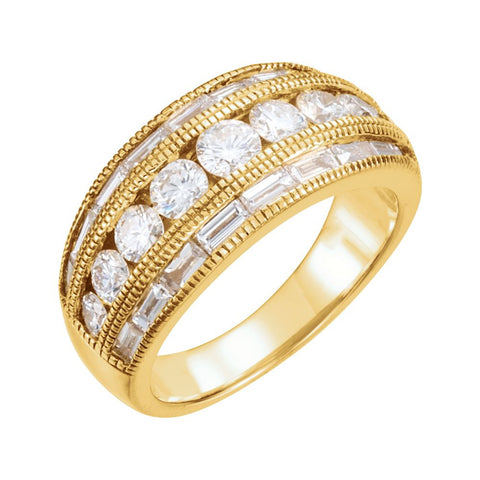 14k Yellow Gold 2 CTW Diamond Anniversary Band, Size 7