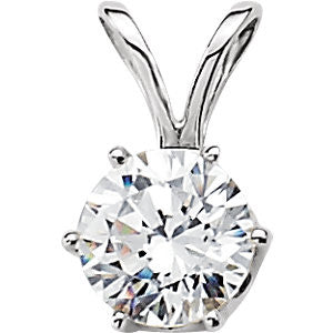 Cubic Zirconia Solitaire Pendant in 14K White Gold