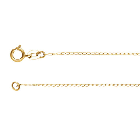 "14k Yellow Gold 1mm Solid Curb 18"" Chain"