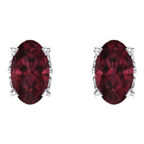 14k White Gold Mozambique Garnet Earrings