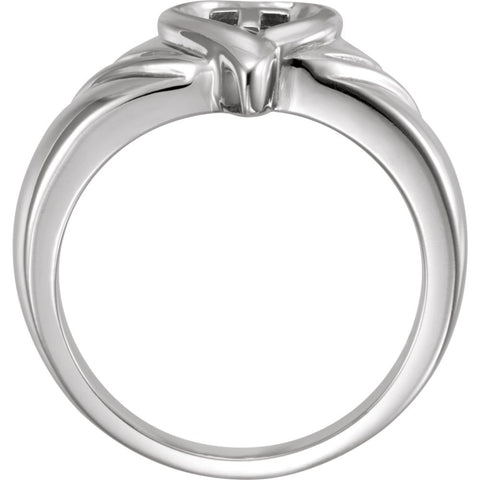 14k White Gold Heart & Cross Ring , Size 7