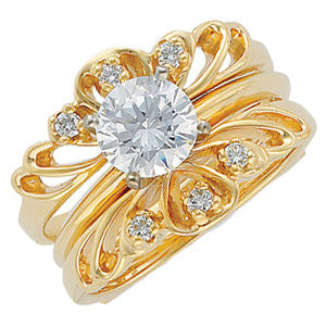 1/8 CTTW Diamond Ring Guard in 14k Yellow Gold (Size 6 )