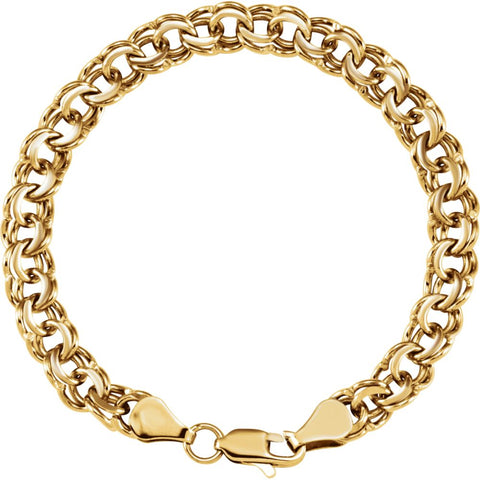 7 mm Solid large Charm Bracelet in 14k Yellow Gold ( 7 Inch )