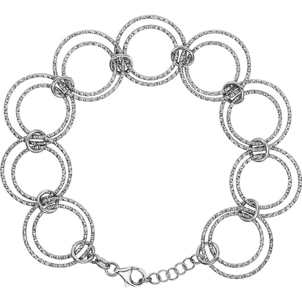 "Sterling Silver Adjustable Circle 8"" Bracelet Chain"