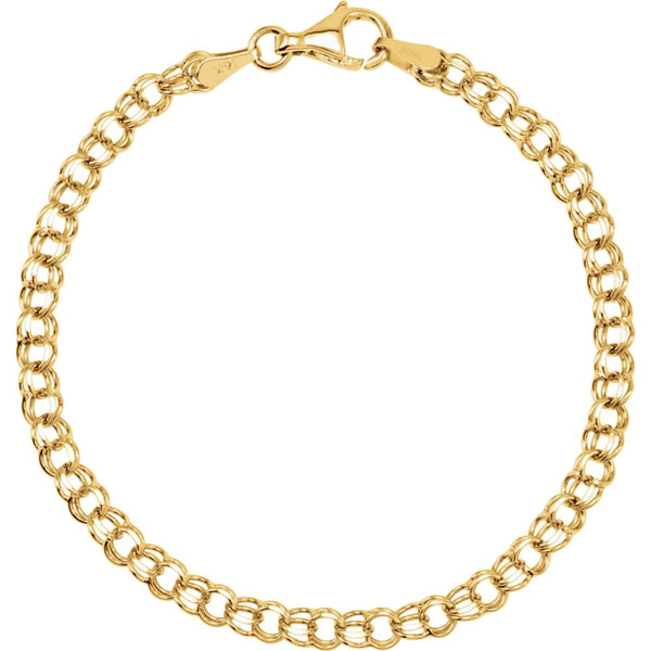 "14k Yellow Gold 3.75mm Solid 7"" Charm Bracelet"