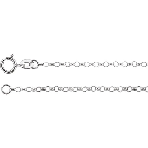 1.5 mm Hollow Belcher Rolo Chain in 14k White Gold ( 16-Inch )