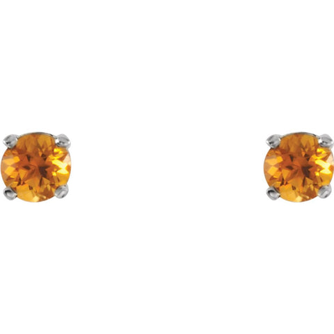 Sterling Silver Imitation Citrine Youth Earrings