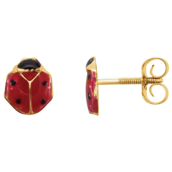 14k Yellow Gold Ladybug Youth Earrings
