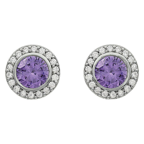 Sterling Silver Purple Cubic Zirconia Earrings