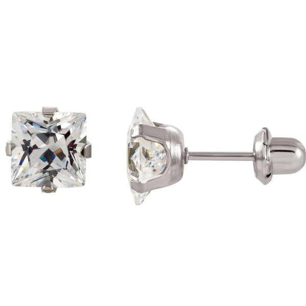 Stainless Steel 3mm Square Cubic Zirconia Piercing Earrings